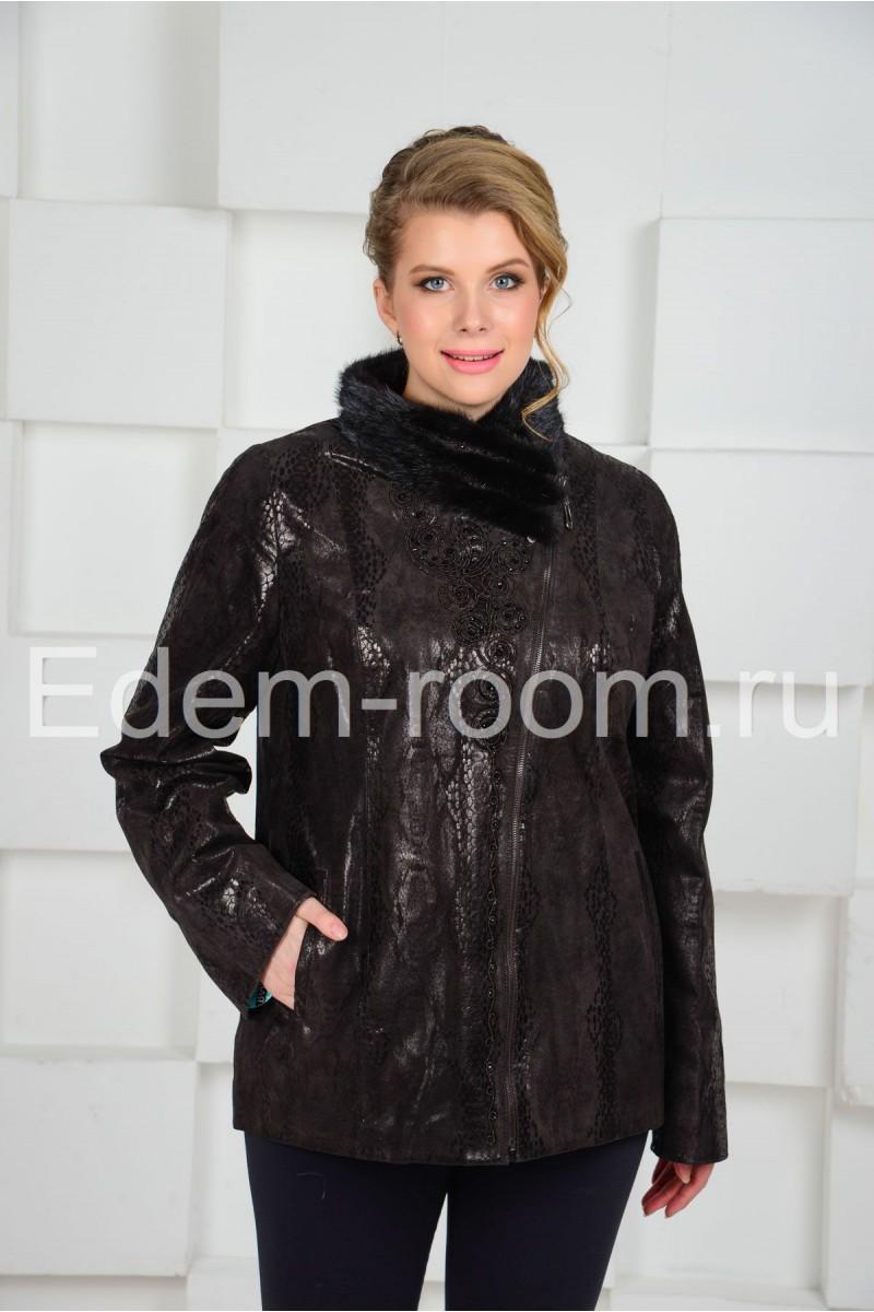 Удобная кожаная куртка с мехом