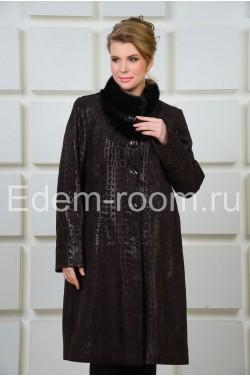 Удлинённое кожаное пальто с мехом норки