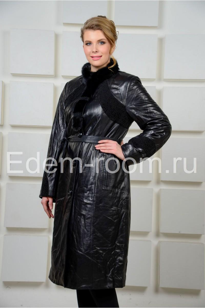 Удлинённое кожаное пальто для женщин