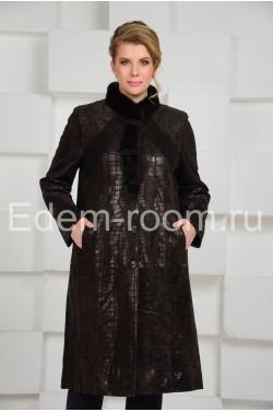 Кожаное пальто  на большие размеры