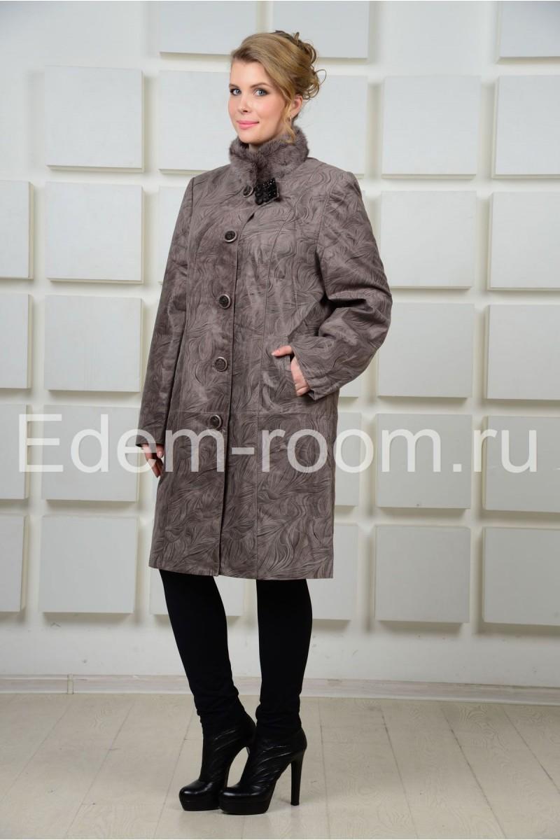 Кожаное пальто больших размеров