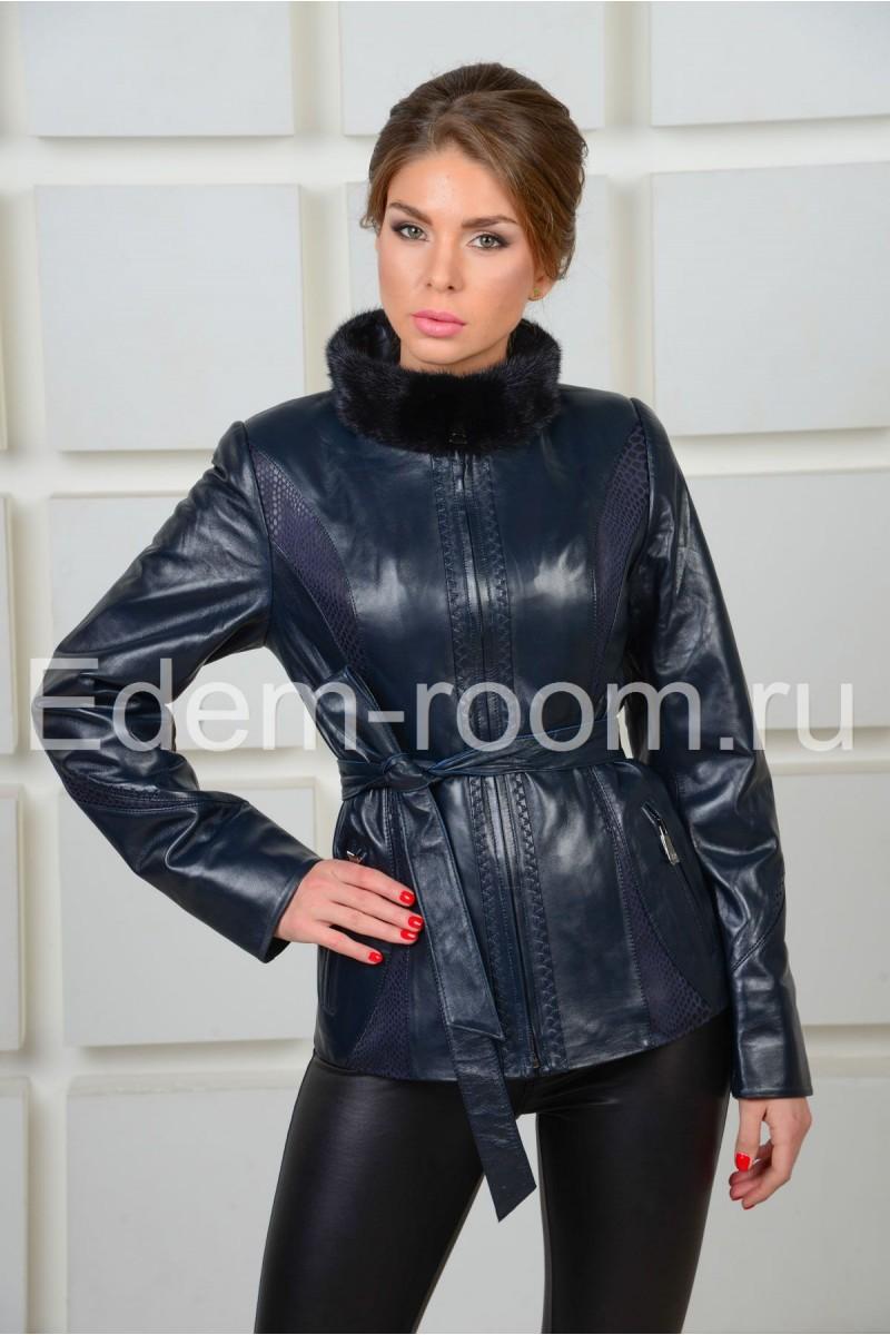 Женская демисезонная кожаная куртка