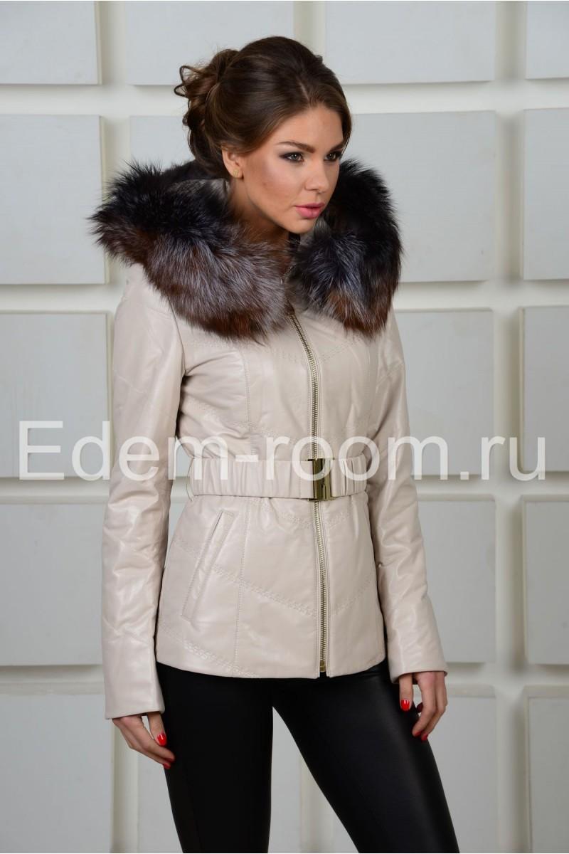 Белая кожаная куртка на синтепоне