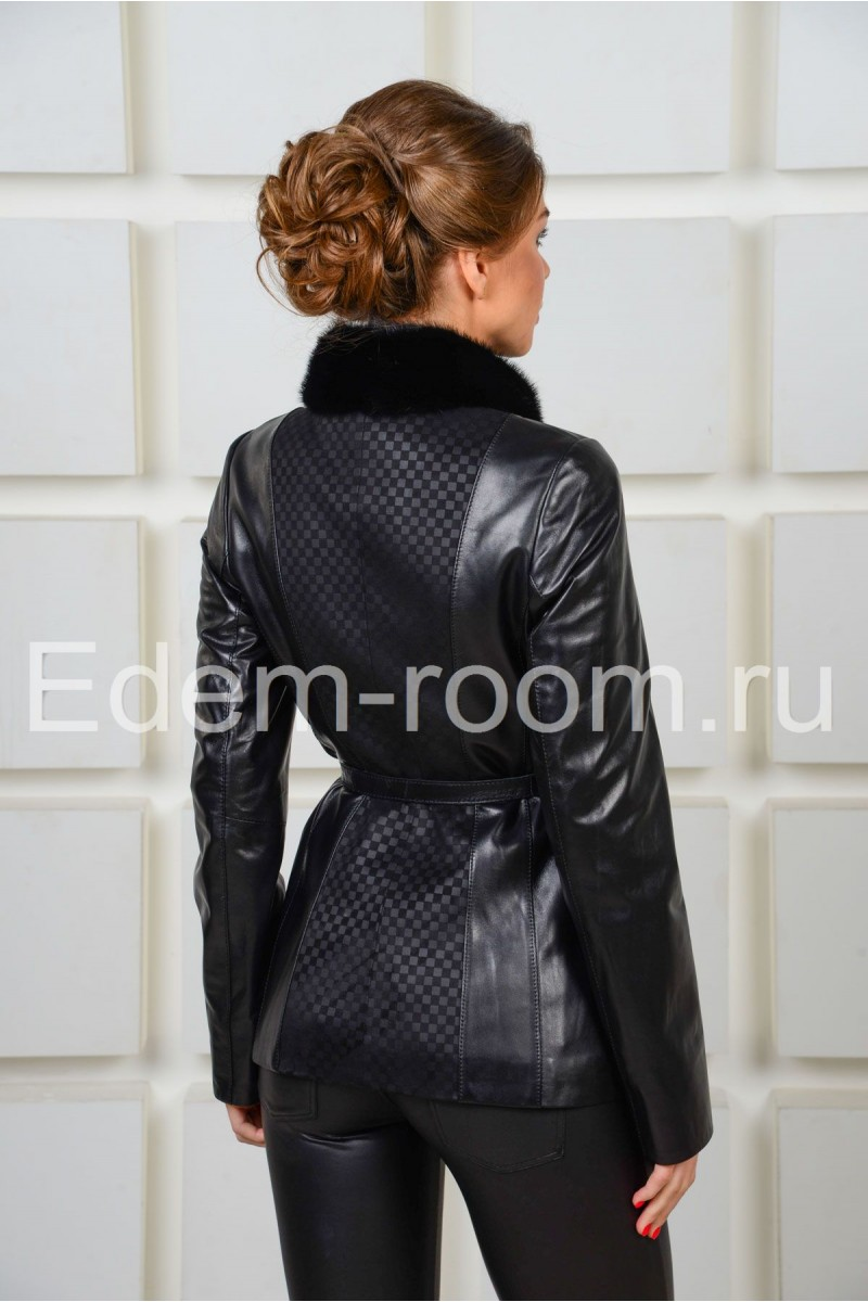 Демисезонная кожаная куртка с мехом норки