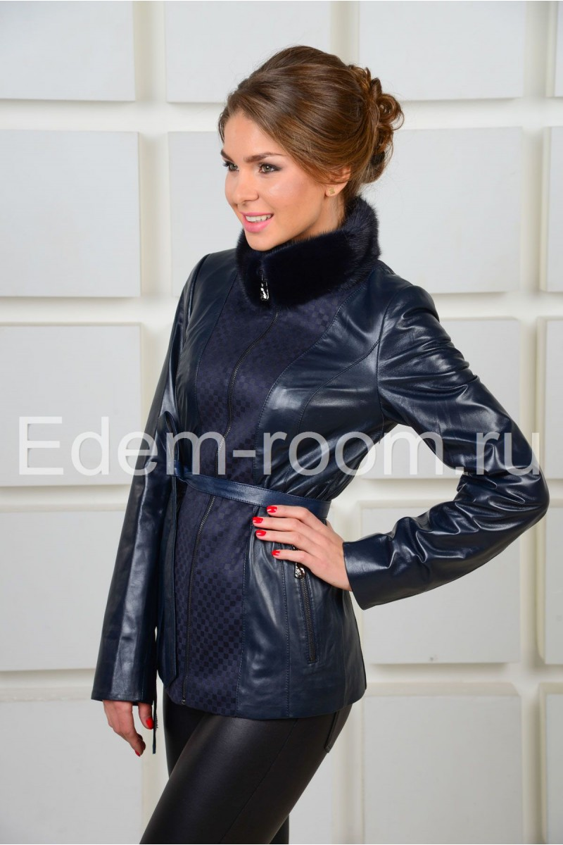 Женская синяя  кожаная куртка