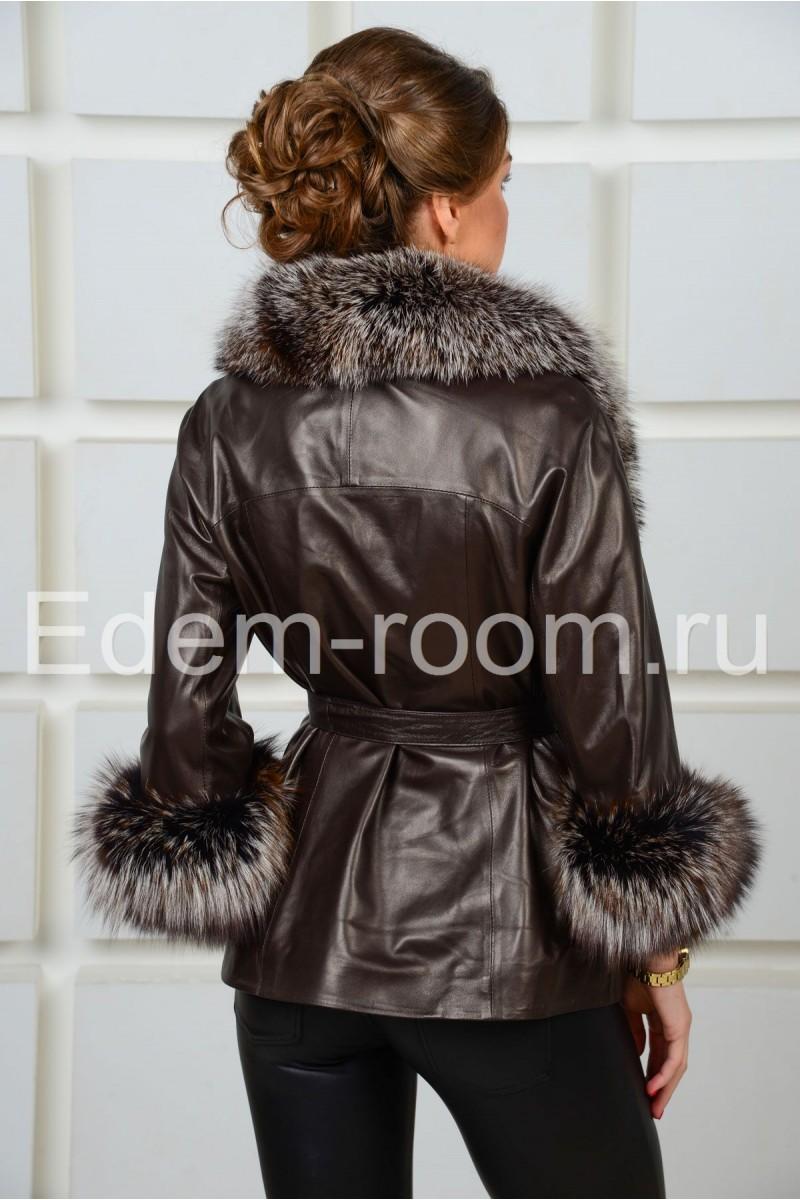 Шикарная демисезонная кожаная куртка