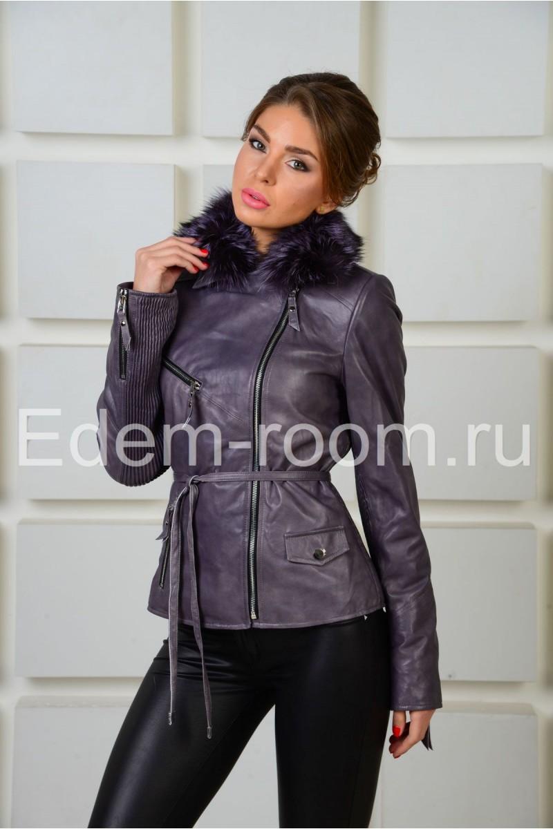Cтильная  кожаная куртка с мехом