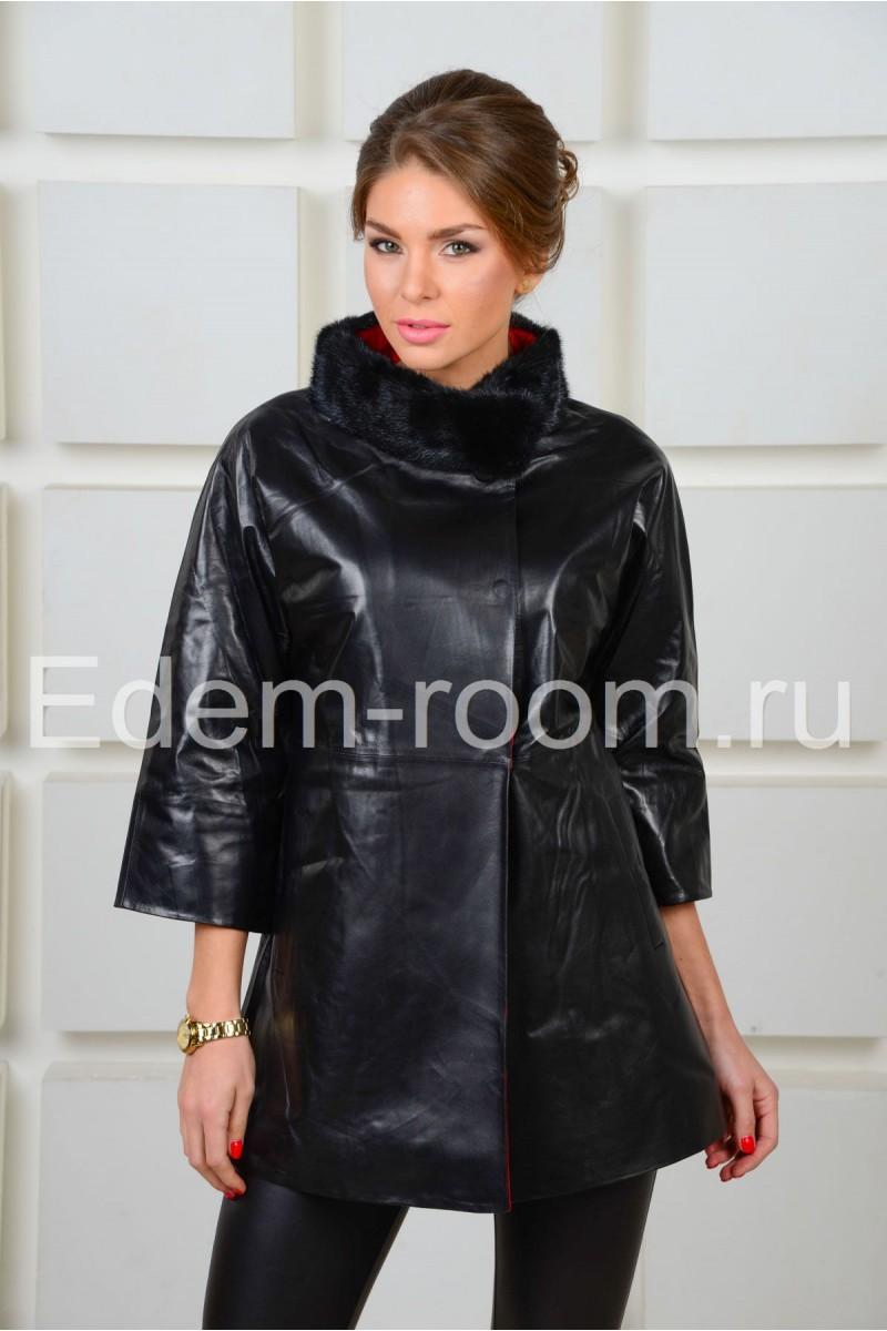 Стильная удлинённая кожаная куртка