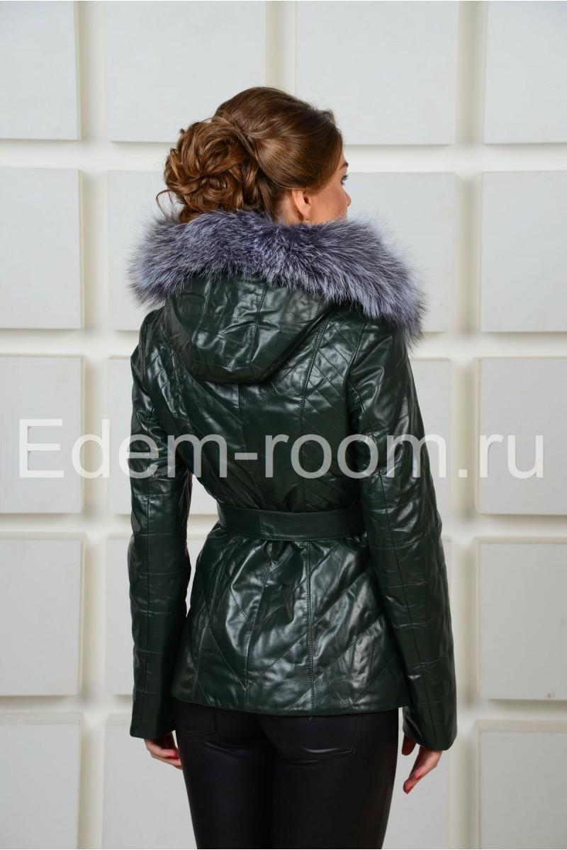 Зеленая утеплённая кожаная куртка
