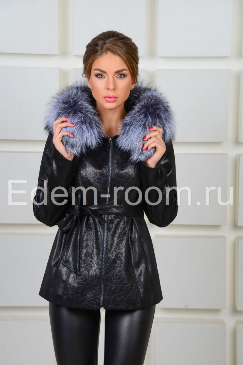 Чёрная куртка с чернобуркой