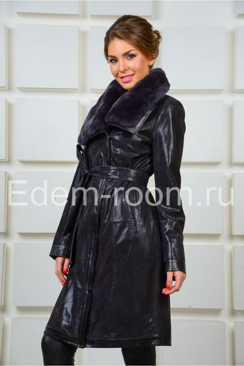 Кожаное  пальто с мехом кролика