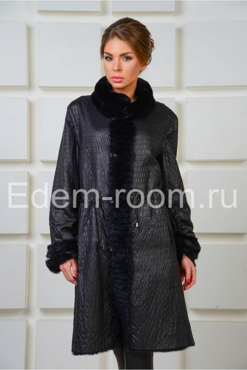 Меховое двухстороннее пальто из кролика