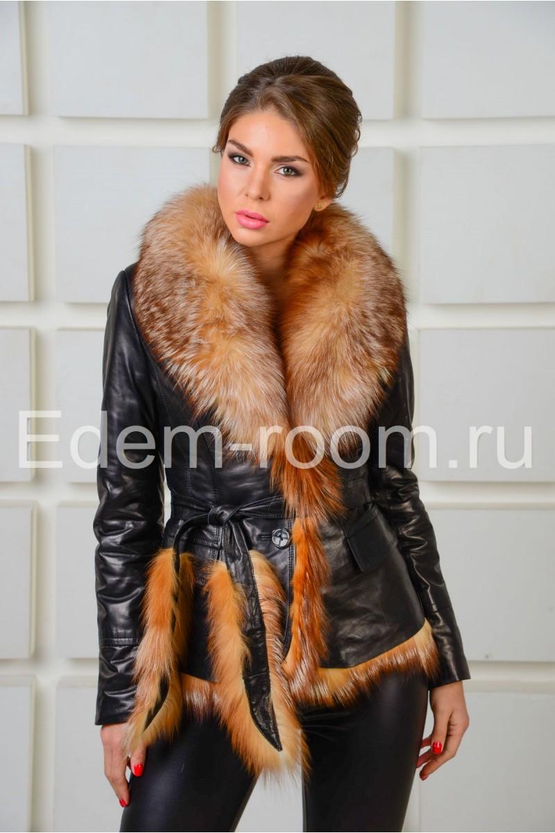 Зимняя куртка из кожи черного цвета