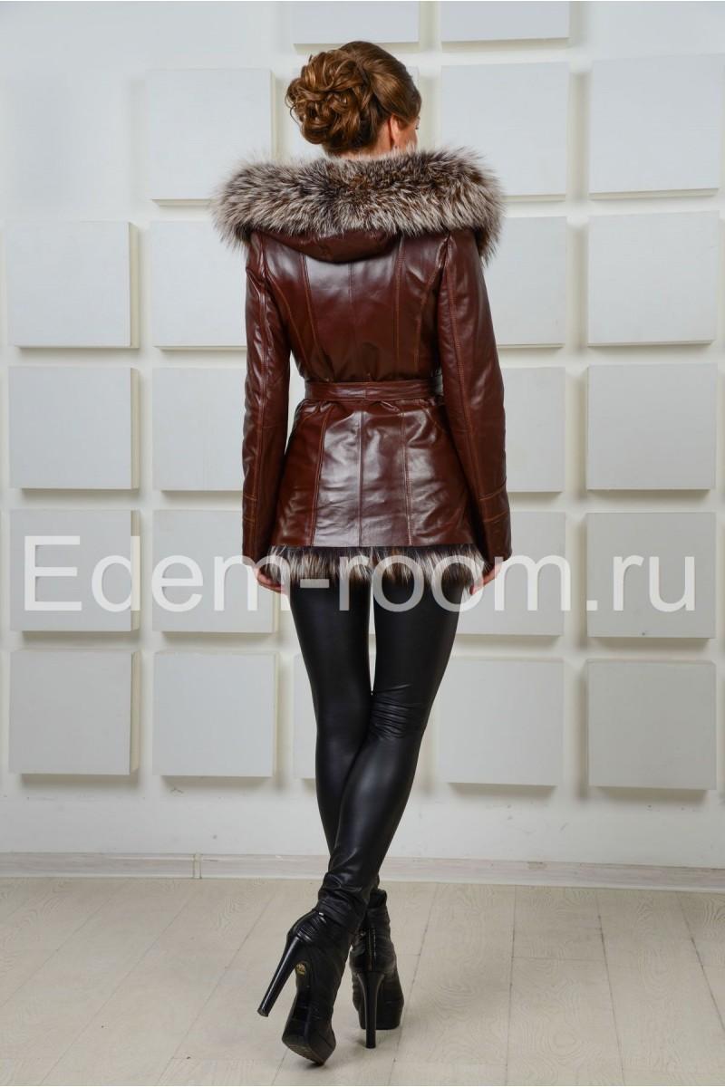 Зимняя женская кожаная куртка с капюшоном