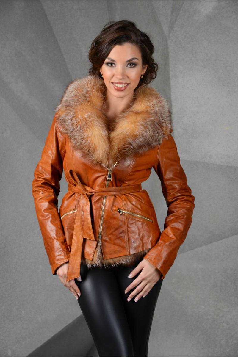 Новинка -куртка кожаная с мехом лисы