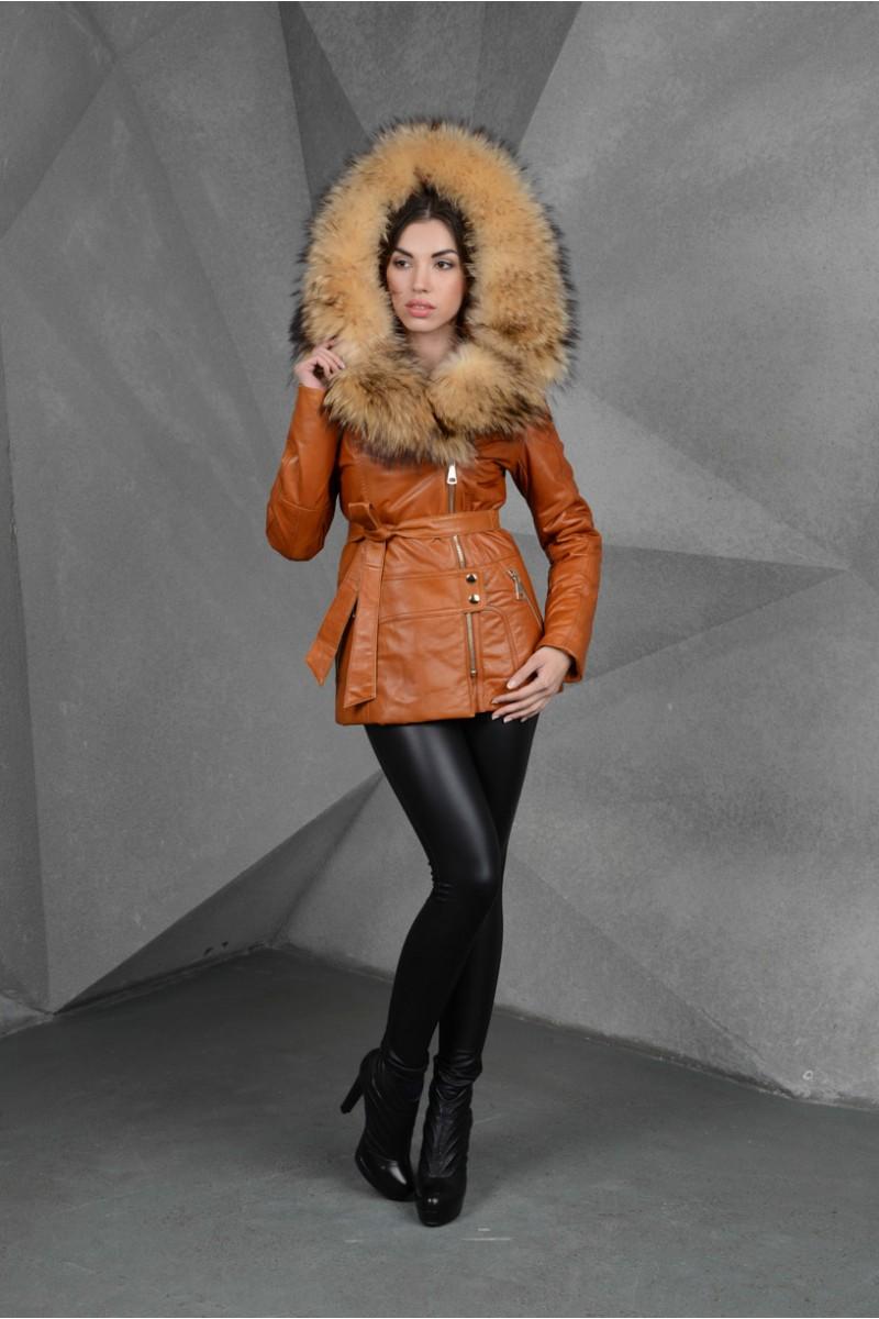 Новинка  Зимняя куртка кожаная с мехом енота