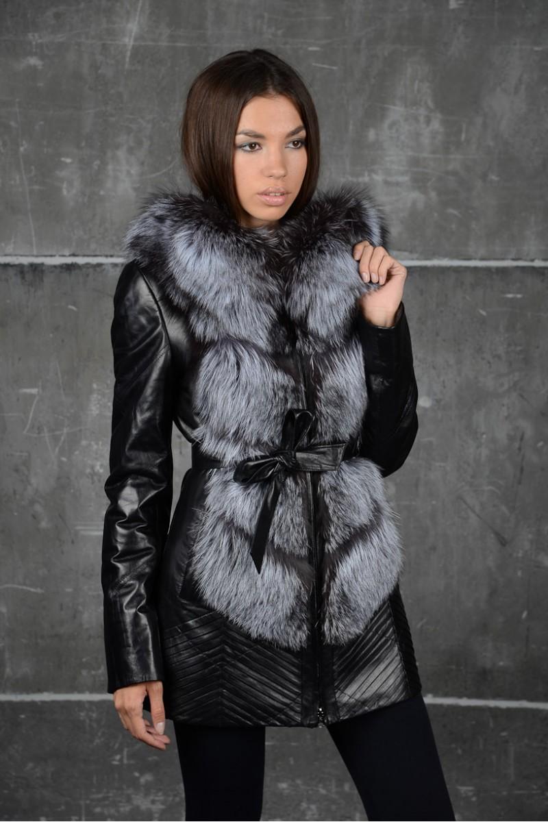 Зимняя кожаная куртка c мехом чернобурки. НОВИНКА