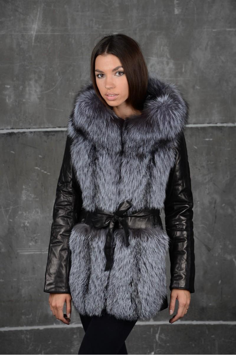Зимняя кожаная куртка-жилетка
