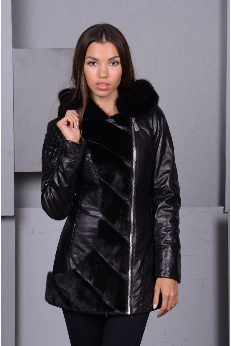 Молодежная женская кожаная куртка