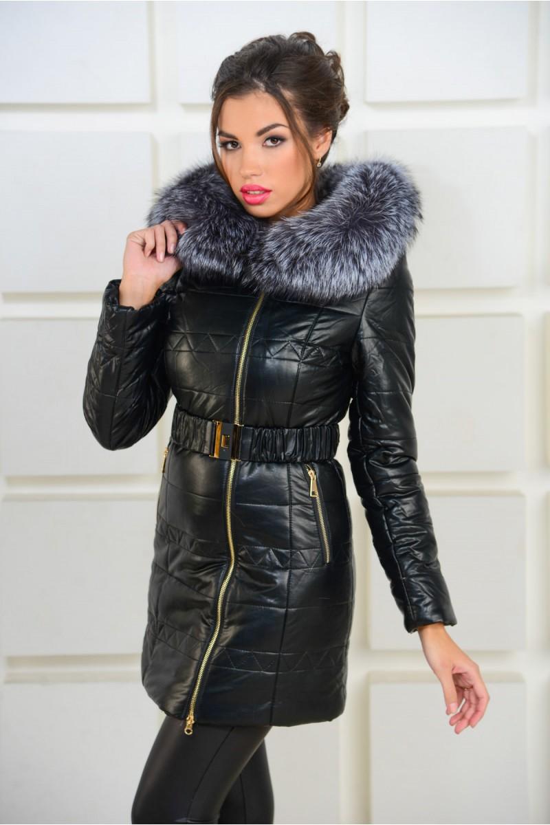 Чёрная зимняя куртка из эко-кожи
