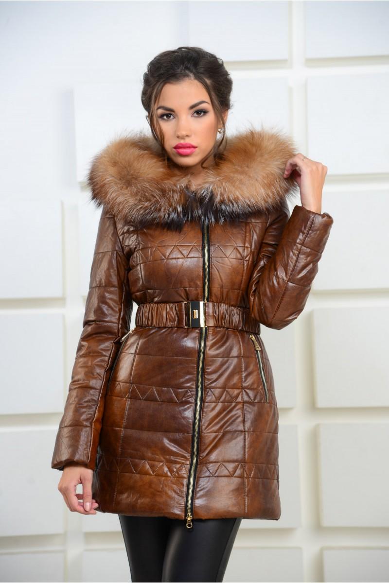 Коричневая куртка из эко-кожи на молнии