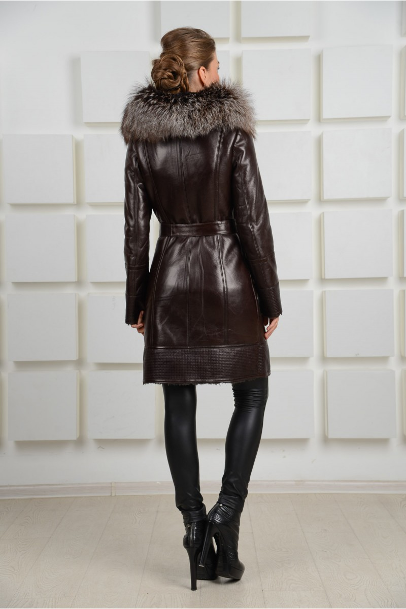 Модная дубленка коричневого цвета.Зима 2014-2015