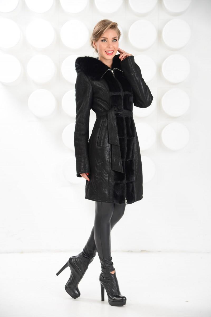 Новинка.Чёрная дубленка женская комбинированная с мехом норки
