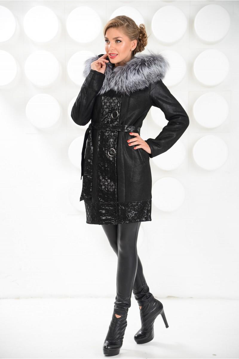 Зима 2014-2015.Красивая женская дублёнка чёрного цвета