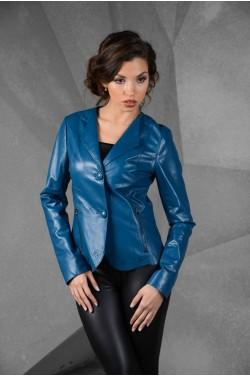 Кожаная синяя куртка