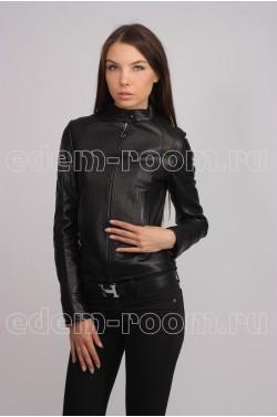 Модная черная женская кожаная куртка