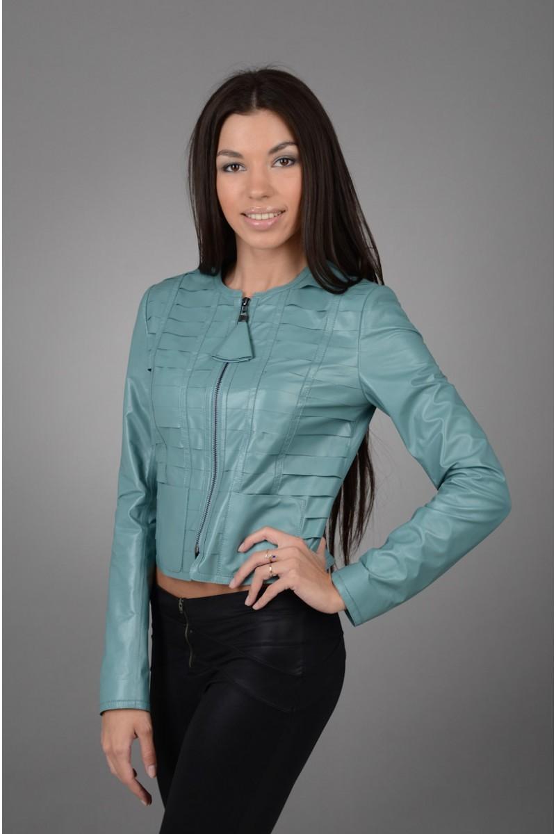Женская кожаная синяя куртка