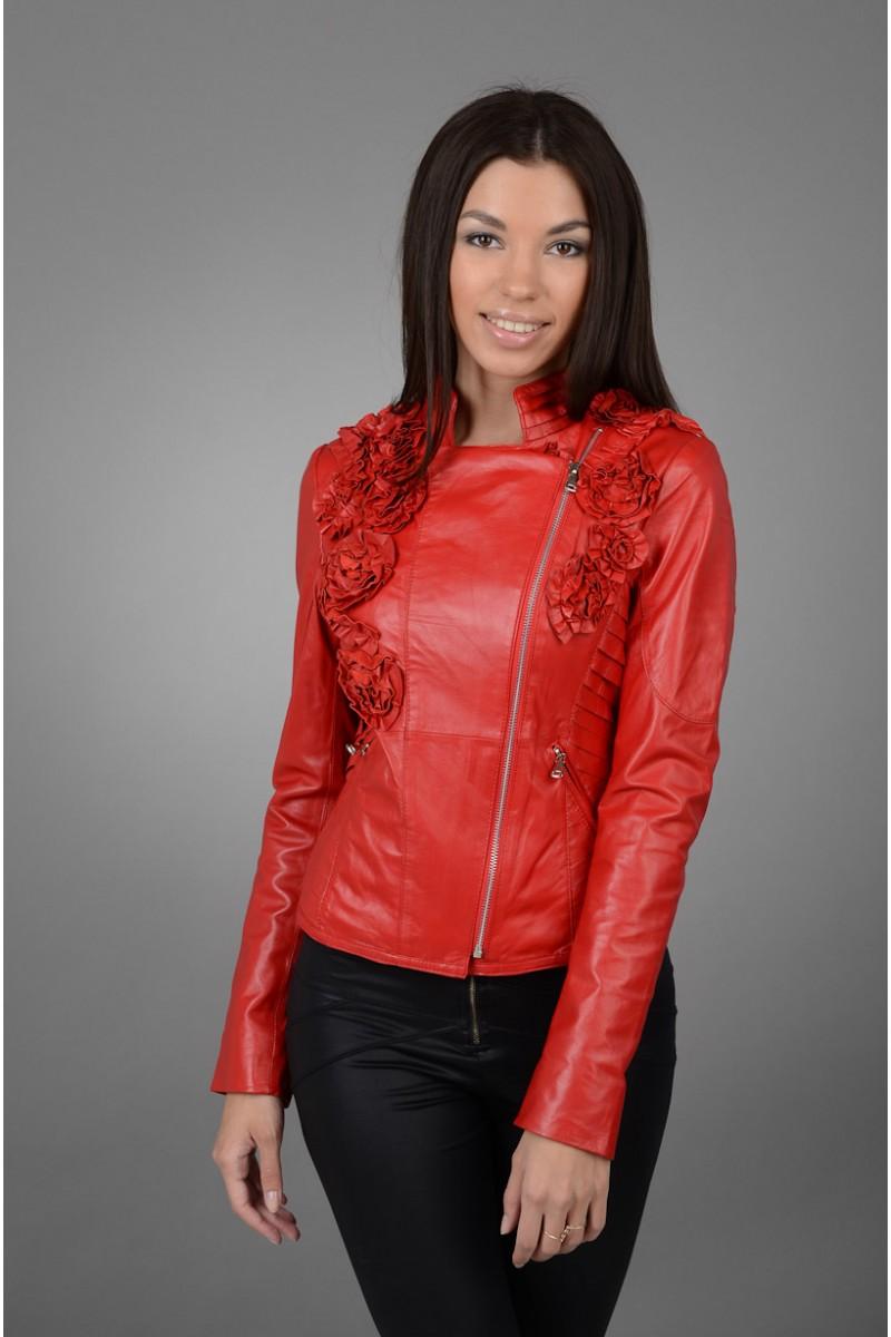 Женская кожаная красная куртка коллекция