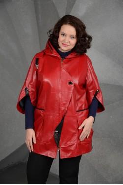 Красный кожаный плащ больших размеров
