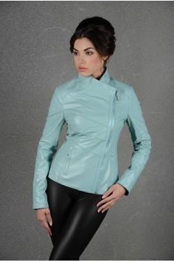 Бирюзовая куртка из натуральной кожи