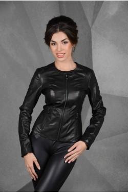 Модная женская кожаная черная куртка, короткий размер