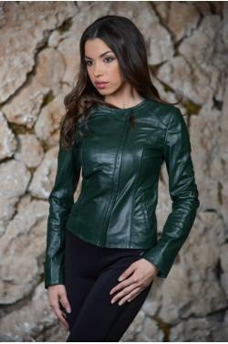 Зелёная кожаная женская куртка