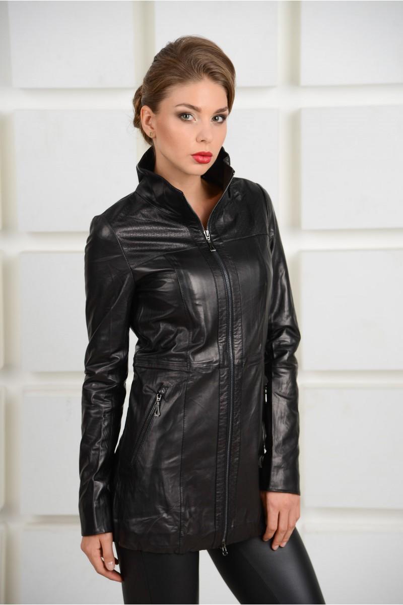 Удлинённая  кожаная черная куртка