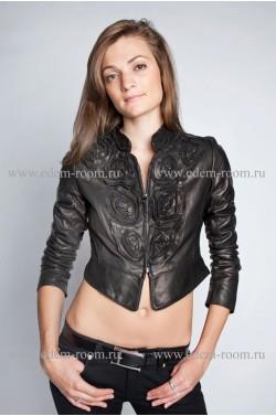 Короткая женская кожаная болеро. Куртка