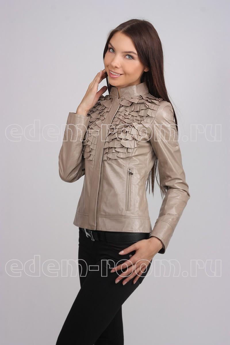 Женская кожаная стильная куртка