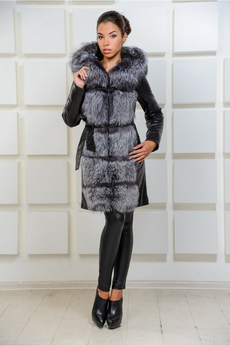 Зимнее пальто из кожи комбинированное чернобуркой