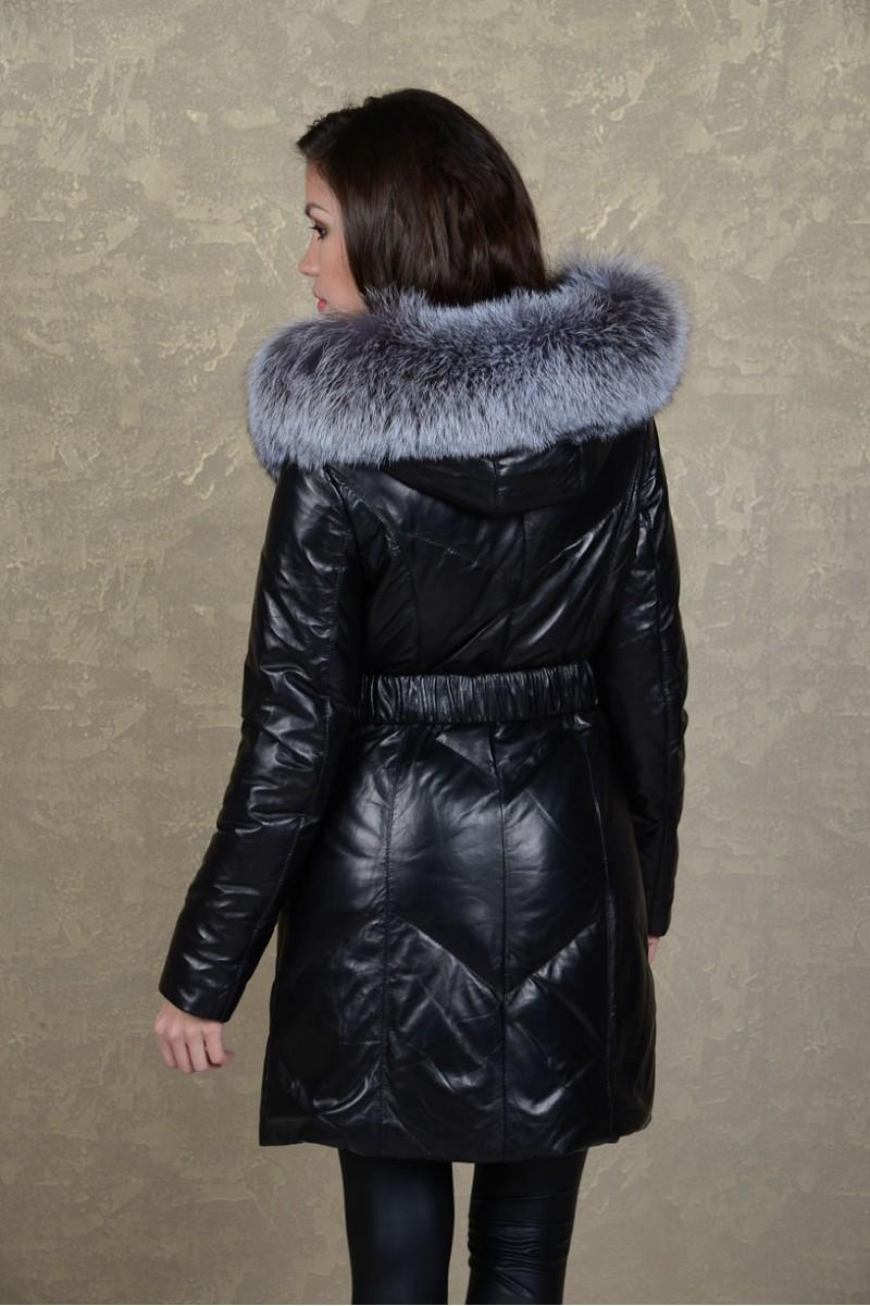 Роскошный кожаный пуховик с мехом чернобурки