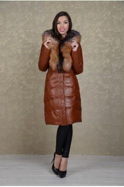 Теплый кожаный пуховик с роскошным мехом