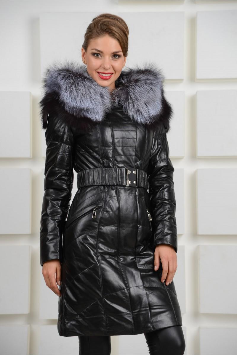 Кожаный женский пуховик чёрного цвета