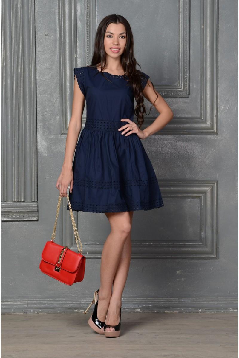 Синее платье бэби-долл