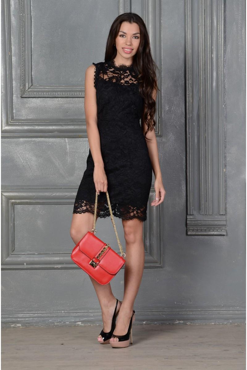 Элегантное кружевное чёрное платье