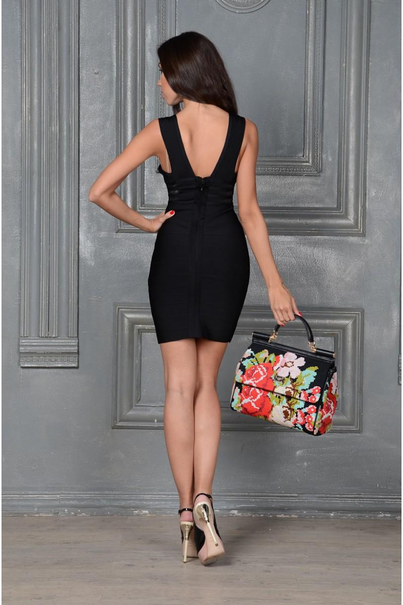 Бондажное чёрное платье