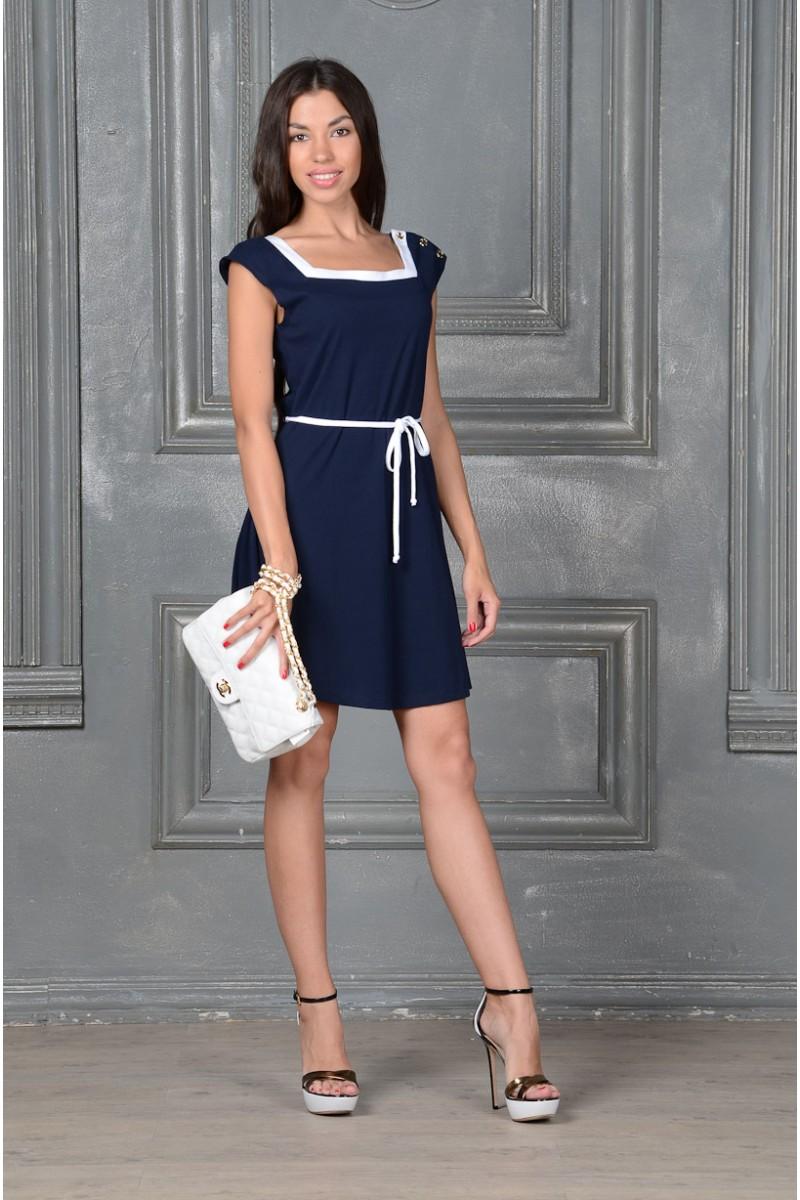 Синее короткое платье
