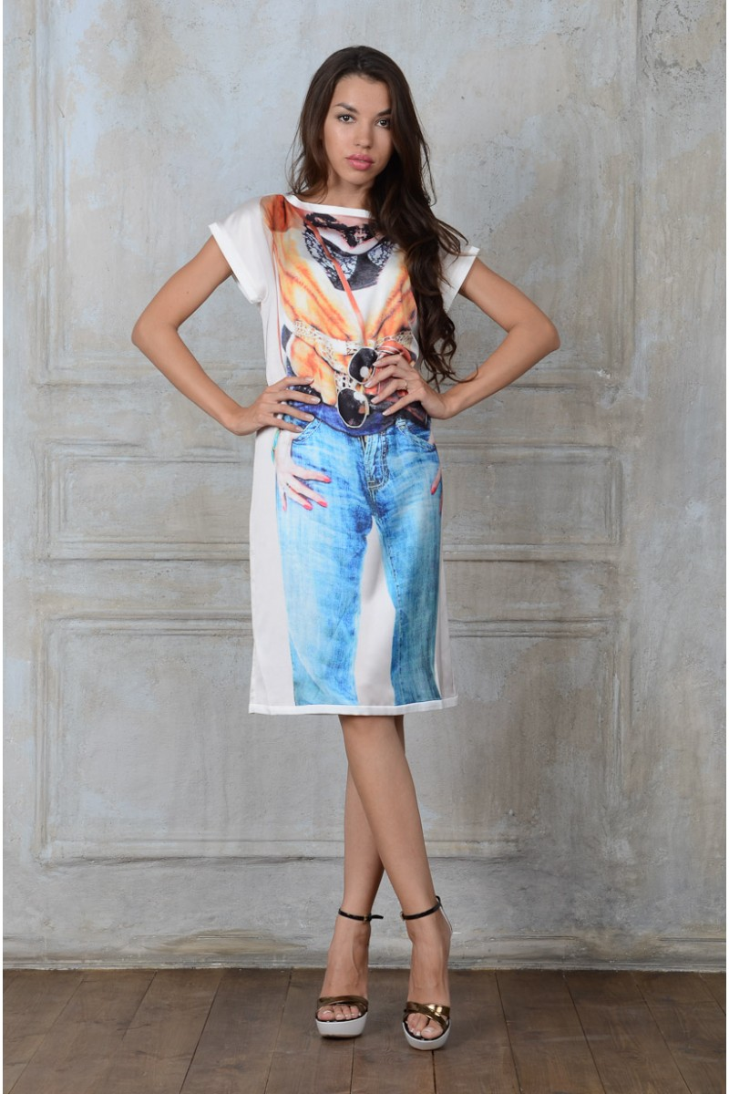 Модное шёлковое платье
