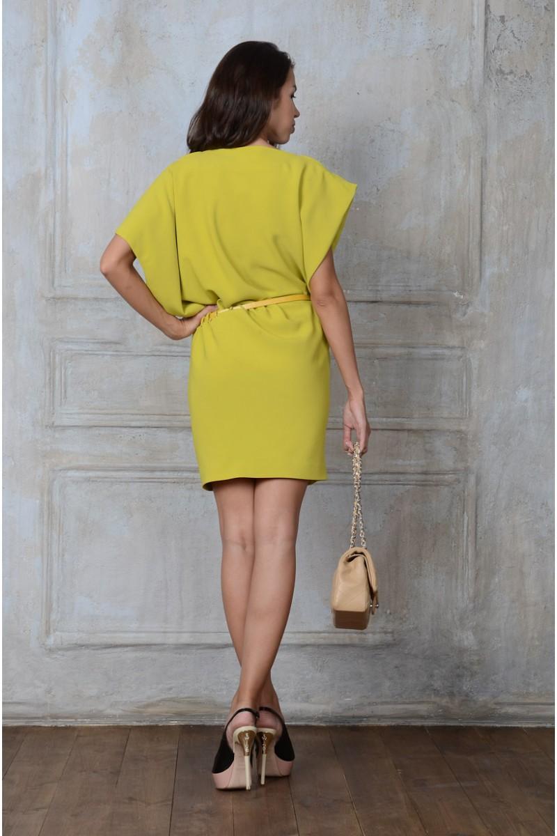 Ярко - салатовое  платье