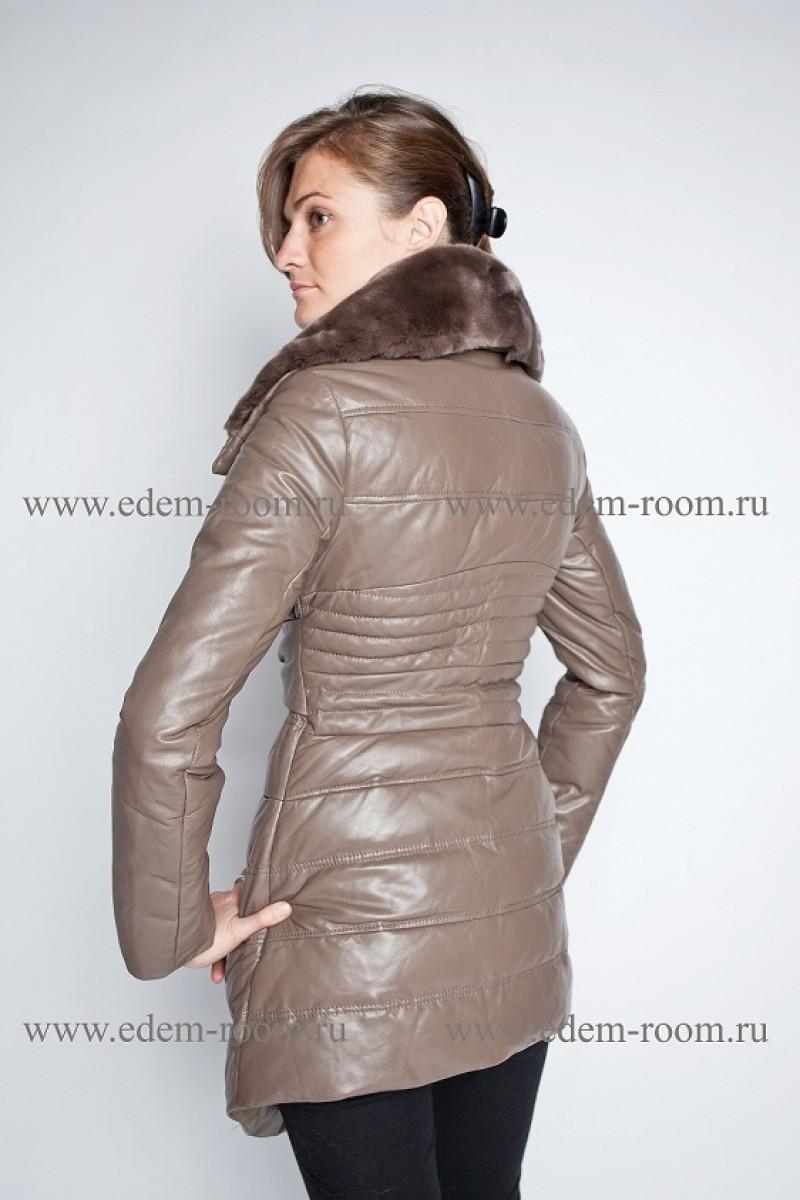 Женский кожаный пуховик Milanmisi